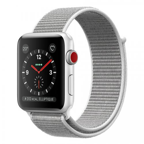 Apple Watch Serie 3 38mm GPS + Cellular Alu. Argent Bracelet Nylon Coquillage
