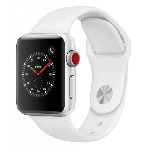 Apple Watch Serie 3 38mm GPS + Cellular Alu. Argent Bracelet Sport Blanc